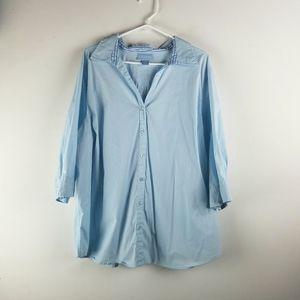 Liz & Me Top 2X  3/4 Sleeves Blue Button Up Plus